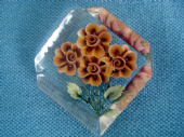 Reverse Carved Lucite Brooch  1940s - 1950s  Orange Flowers(SOLD)